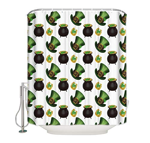 WIXIJAWR Green Goblin Hut Klee Münze Hufeisen Stoff Bad Vorhänge Bad Duschvorhang Duschvorhang Sets Kinder Floral Haken 220X220Cm