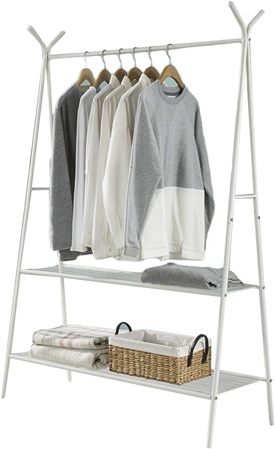 QIANGDA Coat Rack Floor Standing Clothes Hanger White Steel Frame Single Pole shoes Rack for Living Room, 2 Sizes (Size   100X160cm)