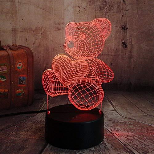 Dtcrzjxh Mignon Enfant Cadeau De Noël Usb Little Lovely Heart Bear 3D Led Night Light Atmosphère Bureau Lampe De Table Filles Bébé Chambre Décor