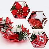 Bibivisa 3X Weihnachten Kerzenhalter, Bereift Tannen Kerzenständer Dekoration Weihnachtsstern Glitzer, Christmas Kerzenlicht Weihnachtskerze Stehen für Weihnachten Tischdeko Advent Deko - 4