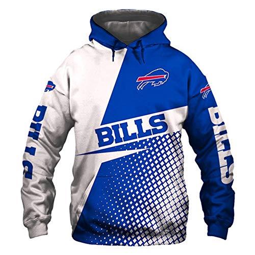 HS-HWH316 American Football Hoodie Buffalo Bills Sweatshirt 3D Printed Sweater Breathable Anti-Pilling Soft Casual Wear Outdoor-Sportarten Feiern Sie Den Super Bowl Fans Souvenirs,2XL