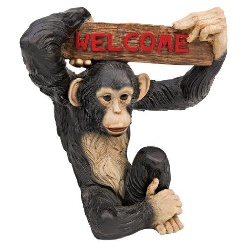 Design Toscano QL1555141 Monkey Business Jungle Welcome Statue,full color