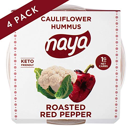 Cauliflower Hummus, Roasted Red Pepper Flavor with Sea Salt. Perfect for Dipping and Snacking. Sugar-free, Gluten-free, Dairy-free,Shelf Stable and Low Carb. 8 Ounce (4 Pack) by Naya Foods