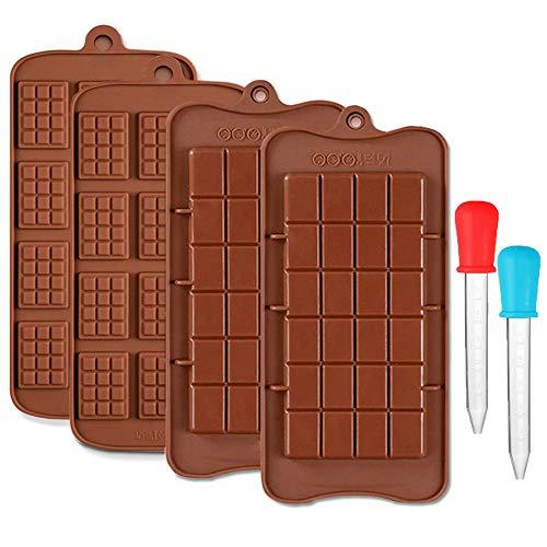 CKANDAY 4 Pack Moule chocolats et 2 Compte-Gouttes liquides clairs, 2 moules pour Plateau de Cuisson de Bonbons protéiques antiadhésifs et de Barres énergétiques à rompre, avec 2 pipettes graduées