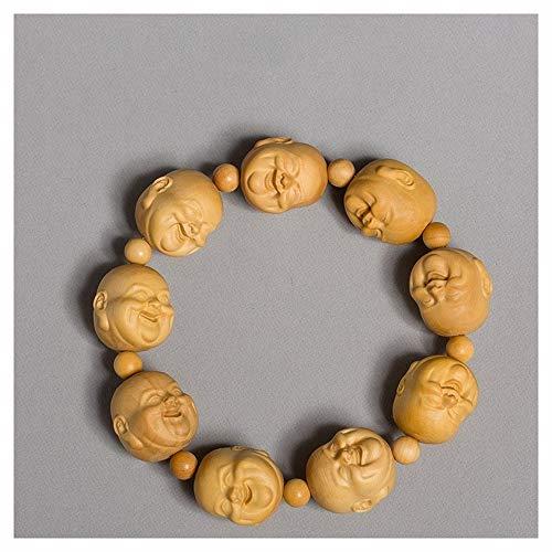 Houten Boeddhabeeld, Gesneden Houten Ornamenten Ambachten Mannen En Vrouwen Kralen Hand-keten Armband Ambachtslieden Beeldjes For Decoratie (Color : Maitreya Buddha Bracelets)