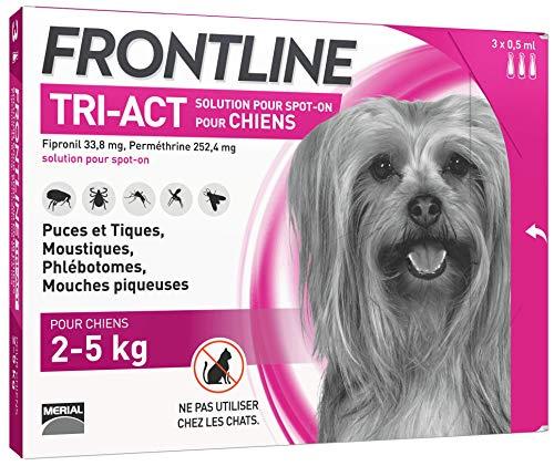 FRONTLINE TRI-ACT Chien - Anti-puces et anti-tiques pour chien - 2-5kg - 3 pipettes