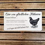 Wetterfestes Schild Eier von glücklichen Hühnern -