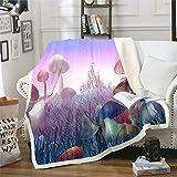 Homemissing Manta de felpa con diseño de setas de dibujos animados para niños, niñas, manta de forro polar colorida de sherpa botánica para sofá cama, tamaño King de 87 x 94 pulgadas