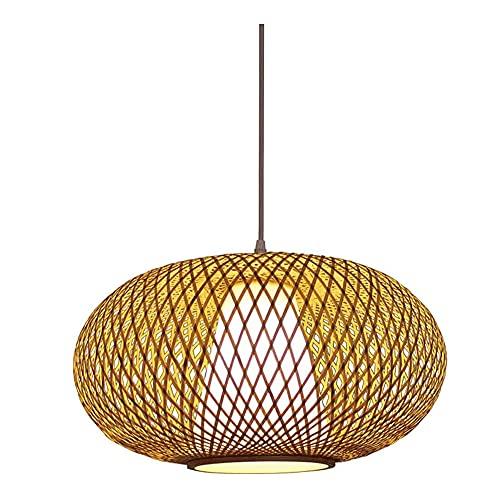 YHBHNB Candelabro de mimbre de mimbre de bambú moderno E27 Lámparas de techo Linternas Pantalla de bambú Candelabro decorativo Sala de estar tejida a mano Hotel Restaurante Lámparas de iluminación par