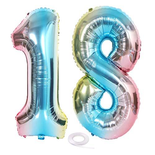 SNOWZAN XL Zahlen Ballon Nummer 18.Luftballon Regenbogen Mädchen Junge Luftballons Zahl 18.Geburtstag Deko Blau Rose Bunt Schillernde 18 Jahre FolienBallon 32 zoll Riesen Helium Happy Birthday Party