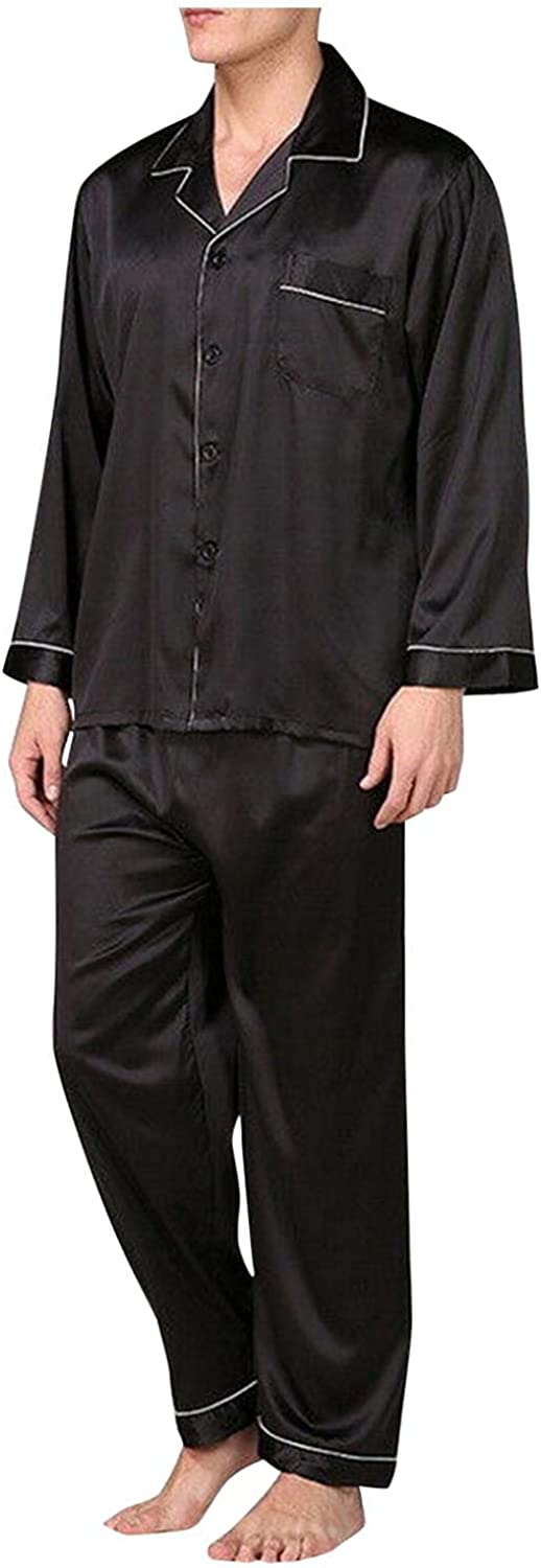 Men's Tracsuit 2-piece Outfit Cardigan Blouse And Trousers Pajamas Set Classic Sleepwear Loungewear Loose Suits