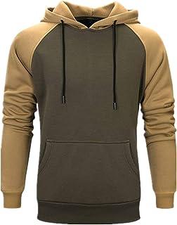 Men Hoodie Long-Sleeve Regular Fit Splicing Sweatshirt Outdoor Fitness Mountaineering Running Top Comfortable Pullovers wi...