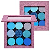 MOMSON Blue Eyeshadow Palette Matte - 9 Color Highly Pigmented Shimmery Magnetic Eye Shadow Pallet - Vegan & Cruelty Free Pro Eyeshadow Palettes for Makeup Geek, Stage,Older Women