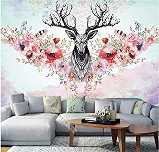 3D Wallpaper Murals Stickers Decorations Wall Grey Deer Head and Red Flowers Living Room Background Art Decorative Cover Art Kids Room (W)140x(H)100cm