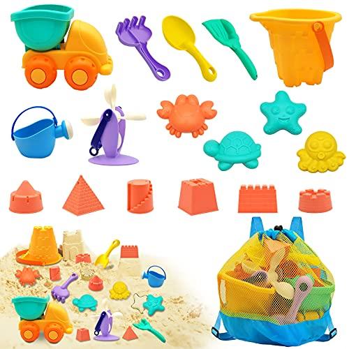 Euyecety Juguetes de Arena Juguetes de Playa para Niños y Niñas, 18 Piezas Juegos Playa Bebes Set con Bolsa Malla, Beach Toy con Cubo Playa, Palas Playa, Modelos de Castillos, Coche para 2 3 4 5 Años