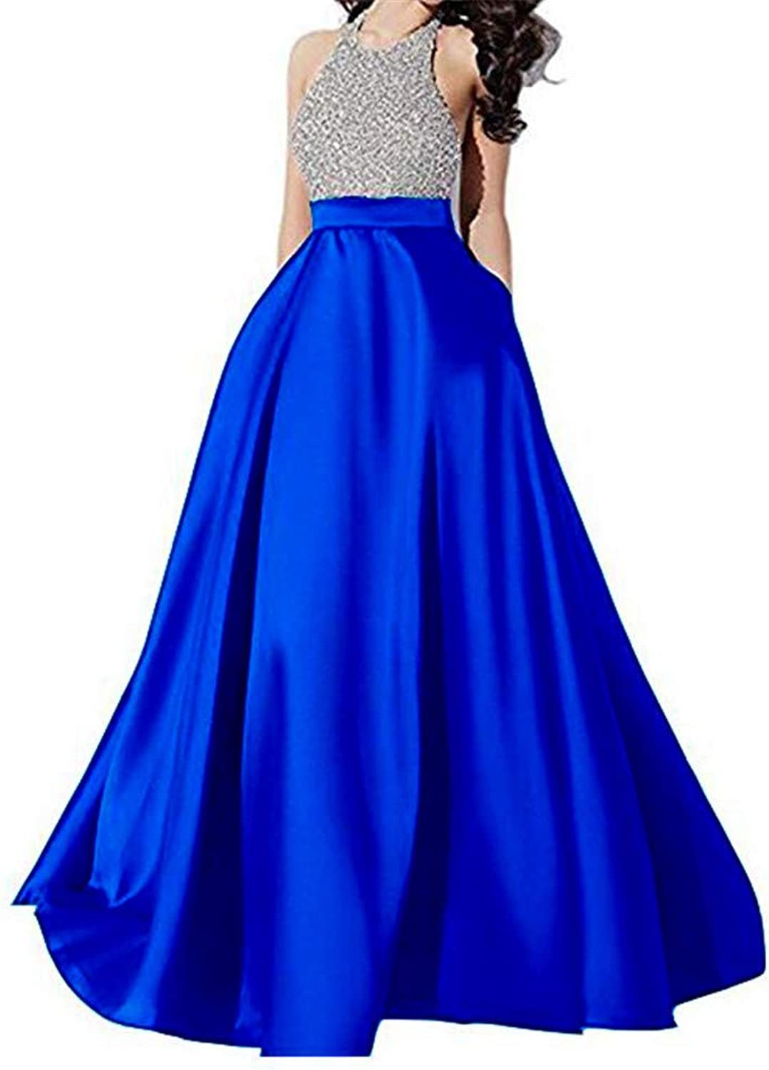 Emmani Women's Halter Neck Sleeveless Beaded A Line Prom Gown Pocket Backless Formal Satin Evening Wedding Dresses Long