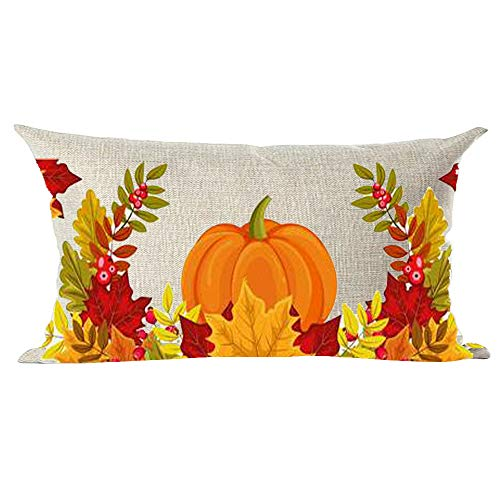 Ramirar Hand Painted Ink Painting Watercolor Orange Pumpkin Red Maple Leaves Decorative Lumbar Throw Pillow Cover Case Cushion Home Living Room Bed Sofa Car Cotton Linen Rectangular 12 x 20 Inches