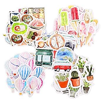 228Pcs Scrapbook Stickers Mini Size DIY Decoration Travel Stickers in Balloon Cactus Coffee Popsicle Design Set for Travel Case Laptop Planners Calendars Scrapbook Suitcase Notebooks