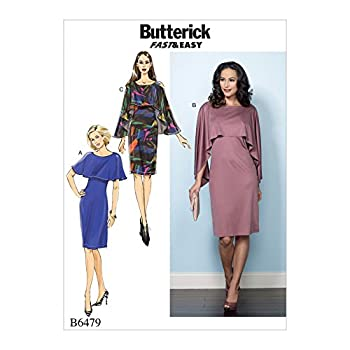 Butterick Ladies Easy Sewing Pattern 6479 Pullover Dresses with Attached Capelets