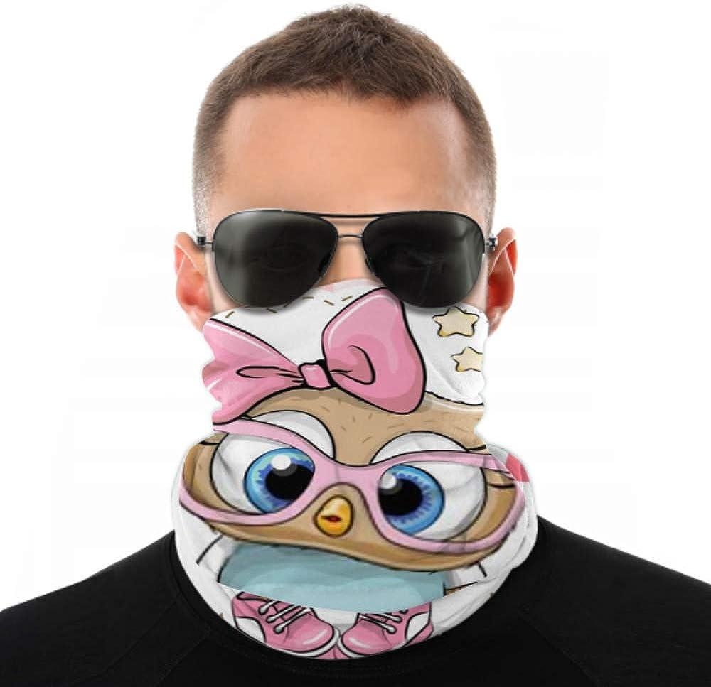 Headbands For Men Women Neck Gaiter, Face Mask, Headband, Scarf Cute Cartoon Owl Pink Eyeglasses Bow Turban Multi Scarf Double Sided Print Headband Wrap For Sport Outdoor