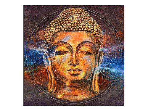 kunst-discounter Boeddha Religie Wandbild A06305 Canvas Leinwandbild quadratisch auf Keilrahmen Format 70 x 70 cm