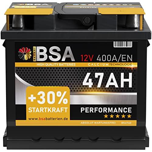 BSA Autobatterie 47AH 12V Batterie 400A/EN +30{7dad93e10893b83a906296165cb367db3ed58bfd8e442341a363f338395afac7} Startleistung ersetzt 44Ah 45Ah 50Ah 46Ah 40Ah