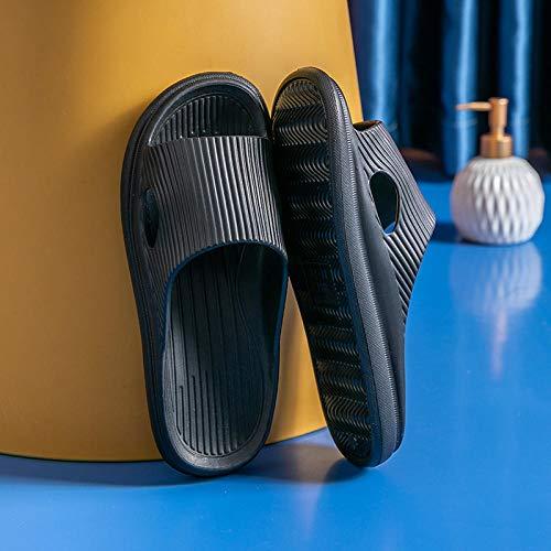XZDNYDHGX Chanclas Suaves De Casa para Interior JardíN BañO,Zapatillas de baño para Mujer con Fondo Suave, Zapatos de Verano para Mujer, toboganes Antideslizantes sólidos para Parejas, Negro EU 43-44