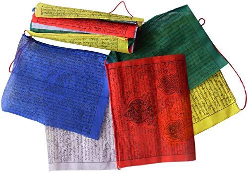 FAIR TRADE NEPALESE TIBETAN BUDDHIST WIND HORSES COTTON PRAYER FLAGS - 25 STRING 22CM x 16CM