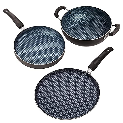 The Non Stick Aluminium Cookware (3 Pcs Combo) Compatible with Gas + stovetops, Special For Gift