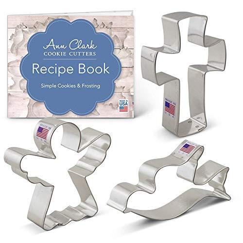 Ann Clark Ausstechformen - Religiöse Weihnachten - 3 Teile Set - Engel, Kreuz, Friedenstaube - US verzinnter Stahl