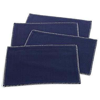 Occasion Gallery Navy Blue Whip Stitched Boarder Design Placemat, 13  X 19  Rectangular (4 Piece Set)