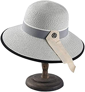 CHENDX Hat Ladies Elegant Straw Fisherman Hat M Standard Wide Sunscreen Sun Hat Simple and Versatile Dome Sunhat (Color : Grey)
