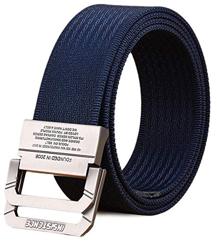 Longwu Cinturón táctico casual de doble hebilla con anilla en D de lona militar para hombres