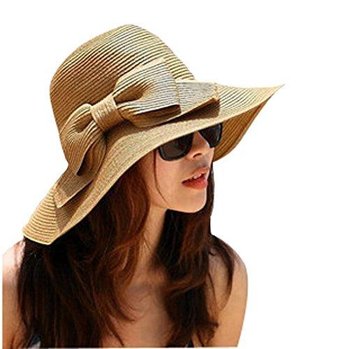 TININNA Bohemia Verano Sun Floppy Mujer Sombrero de la Playa de la Paja del Borde Grande Ancho Cap Moda de Viajes Vacaciones De ala Ancha Sombrero Grande Gorro para Muchacha Coffee