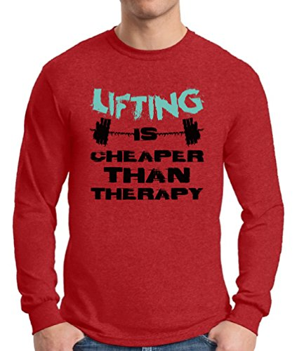 Awkward Styles Men's Lifting is Cheaper Than Therapy Graphic Long Sleeve T Shirt Tops Motivational Workout Red L
