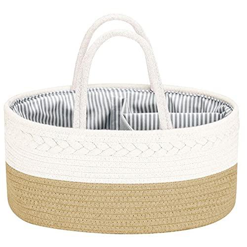 COSYLAND Organizador de Pañales para Bebé Multifuncional, Cesta de Almacenamiento de Pañales de Gran Capacidad con...
