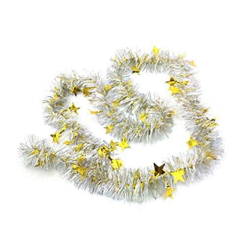 LUFA 2m Adornos navideños con estrella Guirnalda colorida de la cinta para la decoración de los árboles de...