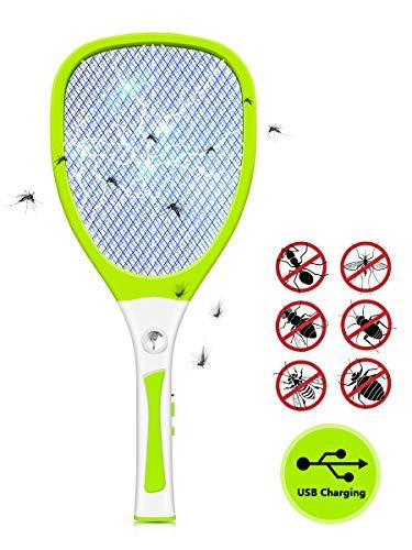Raqueta Mosquitos Eléctricos, Urslif - Swatter Insectos Repelente de Moscas Voladores Trampas Mariposas Asesino Electrónico Anti-Insecto Mosquito Killer Insecticida LED USB Recargable(Verde)