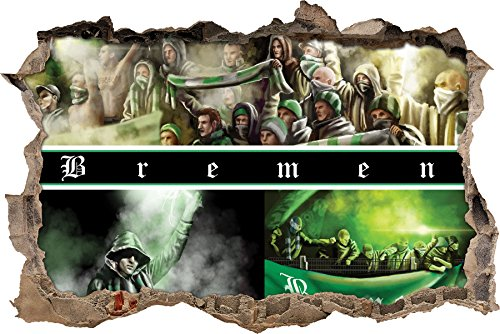 Ultras-Art Bremen Collage, 3D Wandsticker Format: 62x42cm, Wanddekoration