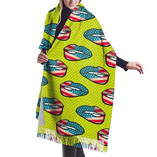 Bufanda de mantón Mujer Chales para, Mujeres Hombres Bandera Labios Bufanda de Cachemira Cómodo...