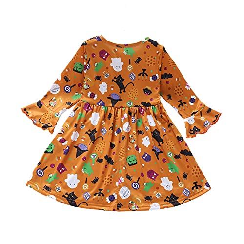 upxiang - Disfraz de Halloween para niños, falda de calabaza, impresión de manga larga, disfraz de Halloween para 0 – 6 años, 01-amarillo, 6 años