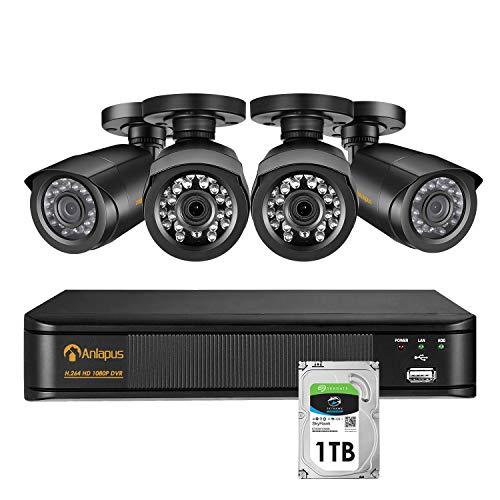 Anlapus 1080P Sistema de Seguridad 8 Canales Grabador DVR con 4 CCTV Cámaras de Vigilancia Exterior, 1TB Disco Duro, 100ft Visión Nocturna