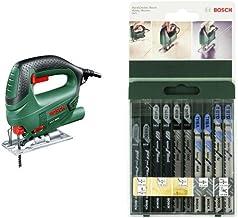 Bosch 0.603.3A0.700 Sierra de calar con maletín 240 V, Negro/Verde 500 W & 2 609 256 746 - Juego de hojas de sierra de calar de 10 piezas vástago en T