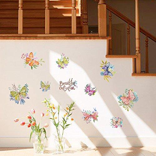 Vlinder met het hart van de kast koelkast deur geheim gesloten glas venster bank decoratieve muur plakken 50 X 70cm
