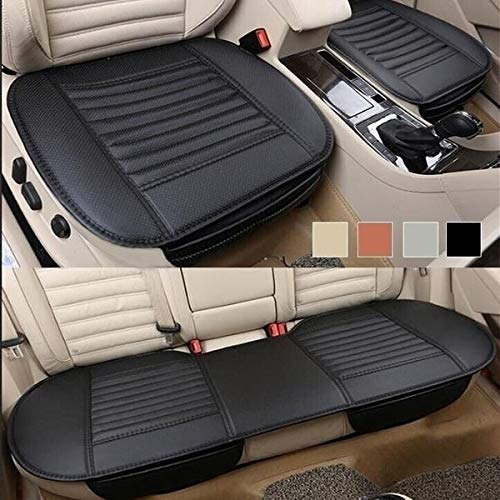 Fifth Gear 3pc Universal Front and Rear PU Leather Black Car Seat Cushion Cover Set Car Seat Pad Bamboo Charcoal Seat Protector Non Slip