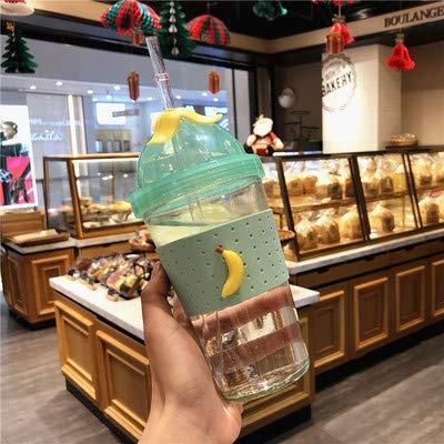XKMY Taza de agua de cerezo de doble capa de vidrio Kawaii botella de agua para niños adultos con pajita lindas botellas de bebida sin Bpa (capacidad: 401 500 ml, color: plátano)