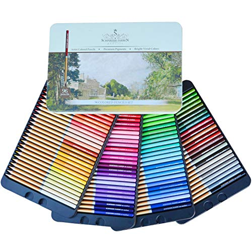 SCHPIRERR FARBEN 96 Color Pencil Set Professional Named & Numbered, Oil Based Soft Core, Ideal For Adult Crafts, Artists, Sketchers & Children – Coloring Sketching & Doodling