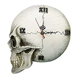 Gothic Skeleton Clock Vintage Roman Numerals Wall Clock Skull Halloween Home Decor Wall Watch Clock for Living Room Bedroom