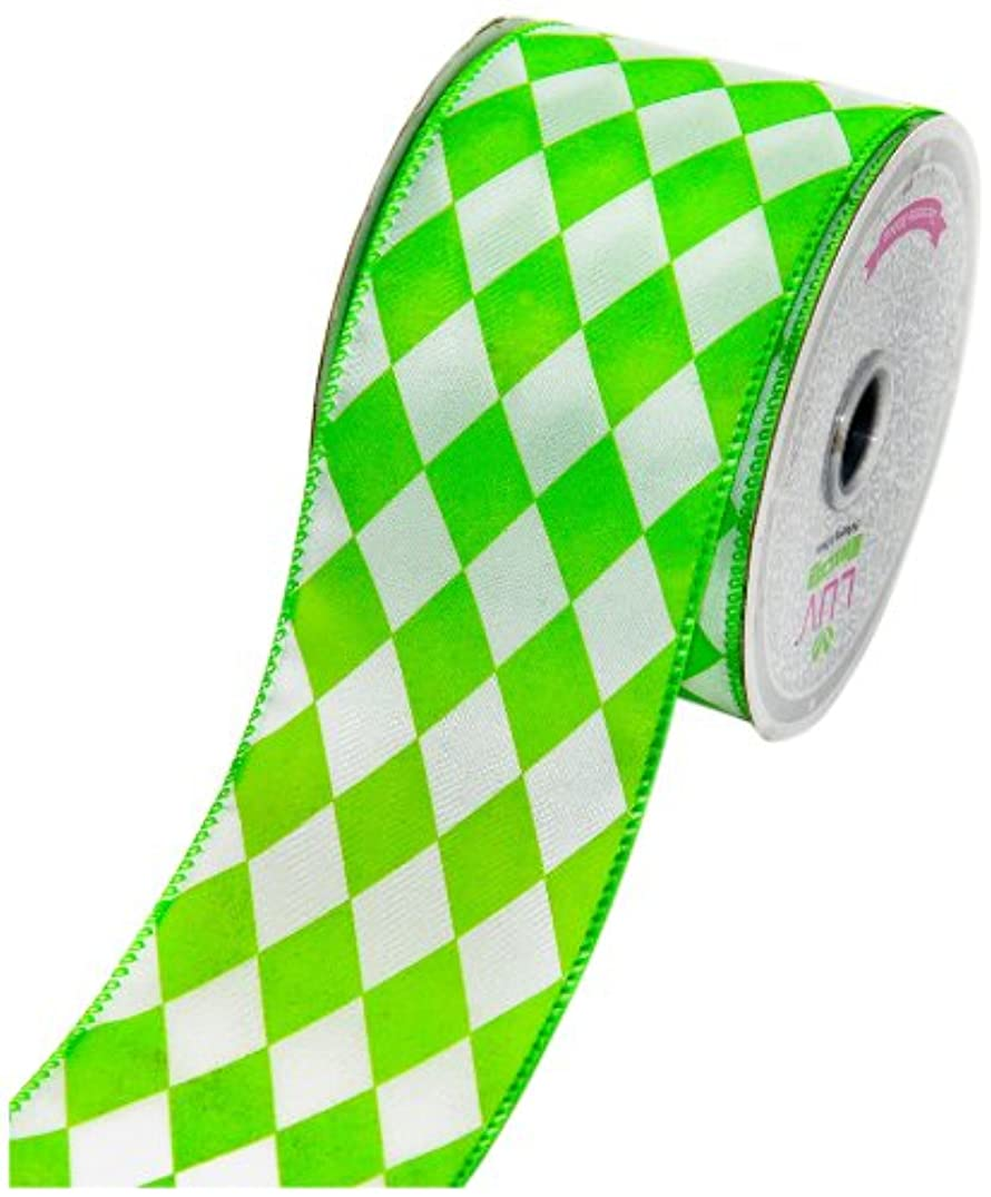 LUV RIBBONS by Creative Ideas 2-1/2-Inch Diamond Print Ribbon, 10-Yard, Apple Green with White