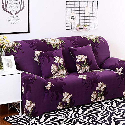 Estiramiento Funda de sofá 1 Plazas 1 Pieza Antideslizante Fundas Impresa para Sofas Sofás Cubre Sofá Ajustable Protector de Muebles 2 Fundas de Almohada Flor Blanca Morada